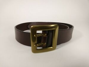 Ann Taylor Brown Leather Belt Womens Size S Solid Brass Buckle