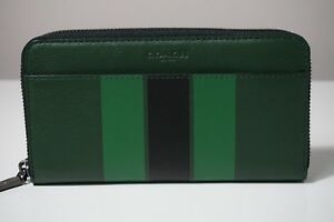 Coach Men's Varsity Stripe Leather Accordion Wallet in Palm/Pine/Black F58109
