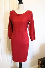 The Limited Red Sweater Dress Open Weave Sleeves Size Medium
