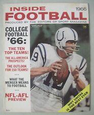 INSIDE FOOTBALL 1966 SPORT MAGAZINE JOHNNY UNITAS BALTIMORE COLTS COVER