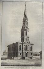 """Cole's """"VIEW OF ST. GILES CHURCH IN THE FIELDS"""" - Antique Engraving Print - 1772"""