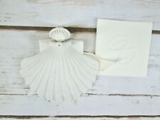Porcelain Shell Angel Blowing Horn Christmas Ornament Margaret Furlong 1980 Vtg