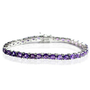 5x4 mm 925 Sterling Silver Natural Purple Amethyst Gemstone Tennis Bracelet