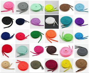 4mm ROUND SHOE LACES 70cm `180cm '35 COLOURS' TRAINERS BOOTS REPLACEMENT PAIRS