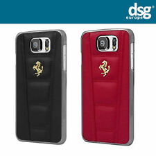 Ferrari 458 Red Black Real Leather Hard Case Silver Emblem for Samsung Galaxy S6