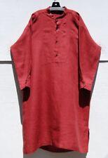 """Eskandar BRICK Light Weight Linen Mandarin Collar 46"""" Long Shirt Dress (2) $990"""