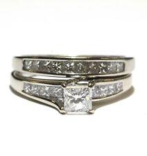 IGI certified 14k white gold 1.12ct princess diamond engagement wedding set