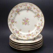 Johann Haviland Bavaria Pink Yellow Roses 02056 Lunch Salad Plates 6 Set 7 1/2""