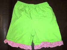 sz 4T Custom made green shorts pink ruffle EUC boutique elastic waist