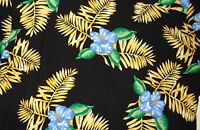 Hawaiian Shirt Hibiscus Flowers Leaves Size XL Black Yellow Blue Puritan Mens