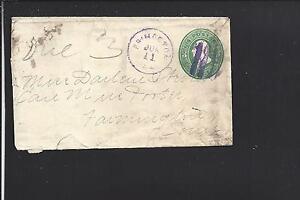 PRINCETON,ILLINOIS 3CT GREEN COVER WITH PURPLE CANCEL &CDS. BUREAU CO 1833/OP.