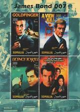 "James Bond 007 Connery Moore Brosnan Somalia 2004 Mnh 4.5 ""x 6"" Sello sheetlet"