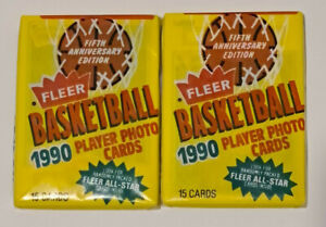 1990 Fleer NBA Fifth Anniversary 2 pack Lot - 15 card per pack, Brand New