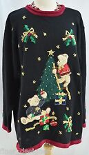 Victoria Jones ugly Christmas sweater pullover top teddy decorating tree 1X VTG