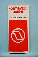 Northwest Orient System Timetable - April 25, 1976