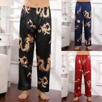 Mens Silk Satin Pajamas Long Pants Sleep Bottoms Nightwear Sleepwear Trousers