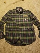Rare Tommy Hilfiger School Uniform buttoned Shirt  Blue Green Plaid Name Tag XL