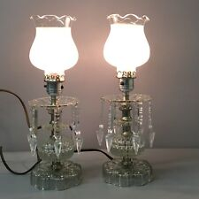 Vintage Pair of Crystal Boudoir Bedroom Table Lamps With Spear Prisms