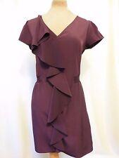 M&S Limited Collection dark Purple plum Ruffle smart Cocktail work dress 12