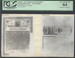 Canada-Newfoundland 1000 Dollars 15-6-1940 - 3 3/4% Bond Photographic Proof UNC