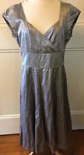 DAVID LAWRENCE BNWT Silver Metallic Sweetheart Fit Flare Cocktail Party Dress 14