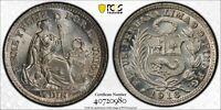 PCGS MS-65 PERU SILVER 1/2 DINERO 1916/5 -FG