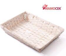 CESTO VIMINI bambù cestino vaschetta cm.37x27 confezioni regalo Natale SBIANCATO