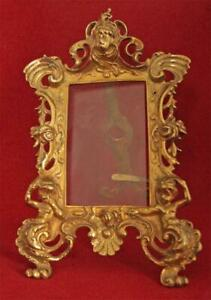 Antique ornate casted brass  easel picture frame Cherubs and Roses