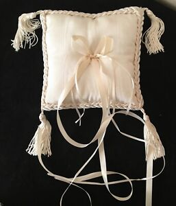 Elegant Fabric Wedding Ring Bearer Pillow Corner Tassels, Braid Trim, Ribbons