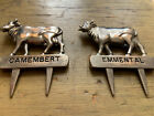 Vintage Silea Silver Plate French Cheese Marker  Cow Cows Camembert Emmental