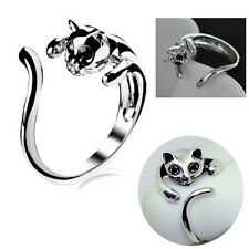 Fashion Women's Lovely Silver Cute Cat Animal Crystal Black Eyes Finger Rings