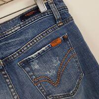 Vigoss Boot Cut Distress Women's Medium Wash Blue Jeans Size 9 Actual 32 x 33