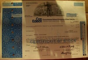 Stock certificate Consolidated Edison Con Ed. Payee Kidder Peabody & Co. Inc