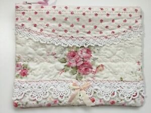 Bitty Handmade zip pouch Pretty Older Mary Rose fabrics front heavily stitched
