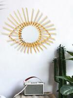 40cm Retro Sun Mirror Wicker Rattan Willow Bamboo Glass Wall Hanging Art Decor