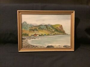 VINTAGE OIL / ACRYLIC PAINTING OF DRAINS BAY CO ANTRIM - IN ORNATE GOLD FRAME