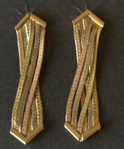 14K Tri-Color Gold Diamond Cut Pierced Post Earrings
