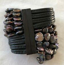Pre-owned MONIES Leather Baroque Pearl Bracelet