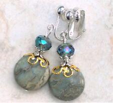 "CLIP ON Earrings Blue Green Crystal & Emperor Stone 1.8"" Long FREE SHIP"