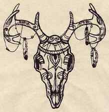 TRIBAL DEER SKULL UNIQUE EMBROIDERED HAND TOWELS SET OF 2 TOWELS