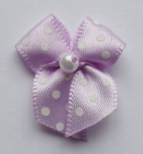 10 SMALL RIBBON BOWS  (Lilac with Dots ).