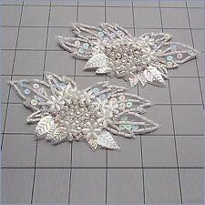 DESIGNER MOTIF FLOWER BRIDAL PAIR SEQUIN BEADED APPLIQUE PAIR  2702-O