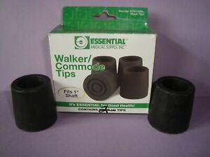 "NEW Essential Medical Supply Brand 2 Walker/Commode Tips fit 1"" Shaft Black"