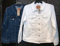 (NWT) Levi's Original Classic Trucker Denim Jacket Plus Sizes White or Blue