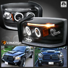 2005-2007 Dodge Dakota Halo LED Projector Headlights Black Pair