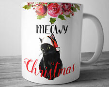 CAT Christmas Coffee Mug MEOWY Christmas 11 oz Black Cat Kitty Cat Lover Gift