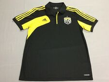 COLUMBUS CREW MLS SOCCER BLACK ADIDAS JERSEY CLIMACOOL POLO SHIRT MENS LARGE