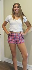 JUICY COUTURE Pink Plaid Modal Shorts Size S New With Tag