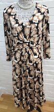 Isle EWM Dress Stretchy Comfy Brown Black Abstract Print Design Size 20