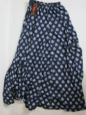 Reborn Blue White Long Gypsy Maxi Skirt New With Tags Size S Small Elastic Waist